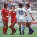 1986 World Cup Finals. Puebla, Mexico. 10th June, 1986. Italy 3 v South Korea 2. South Korea's Jung Moo Huh in confrontation with Italy's Salvatore Bagni.