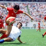 1986 World Cup Finals. Puebla, Mexico. 10th June, 1986. Italy 3 v South Korea 2. Italy's Gaetano Scirea tackles South Korea's Jong Boo Kim.