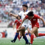 1986 World Cup Finals. Puebla, Mexico. 10th June, 1986. Italy 3 v South Korea 2. Italy's Alessandro Altobelli battles for the ball with South Korea's Yong Hwan Jung.