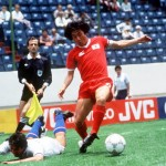 1986 World Cup Finals, Puebla, Mexico, 10th June, 1986, Italy 3 v South Korea 2, South Korea's Chang Sun Park beats Italy's grounded De Napoli