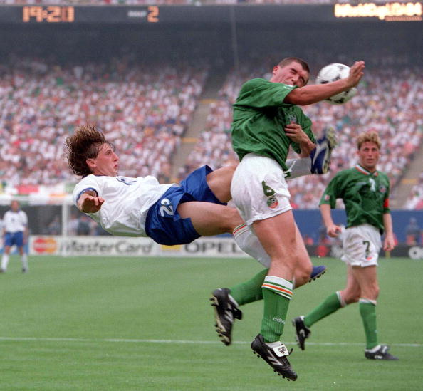 1994 World Cup Finals. New York, USA. 18th June 1994. Ireland 1 v Italy 0. Ireland's Roy Keane with Italy's Giuseppe Signori.