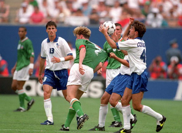 1994 World Cup Finals. New York, USA. 18th June 1994. Ireland 1 v Italy 0. Ireland's Andy Townsend with Italy's Alessandro Costacurta.