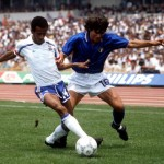 Sport. Football. World Cup Finals. Mexico City. 17th June 1986. Italy 0 v France 2. France's Jean Tigana is challenged for the ball by Italy's Bruno Conti.
