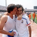 1986 World Cup Finals. Second Phase. Mexico City, Mexico. 17th June, 1986. France 2 v Italy 0. France's Michel Platini is warmly congratulated by Italy's Marco Tardelli after France's win over the World champions.