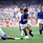 1986 World Cup Finals. Second Phase. Mexico City, Mexico. 17th June, 1986. France 2 v Italy 0. France's Michel Platini slides in to tackle Italy's De Napoli.