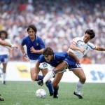 1986 World Cup Finals. Second Phase. Mexico City, Mexico. 17th June, 1986. France 2 v Italy 0. Italy's Giuseppe Galderisi challenges France's Alain Giresse for the ball .