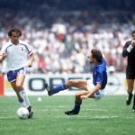 1986 World Cup Finals. Second Phase. Mexico City, Mexico. 17th June, 1986. France 2 v Italy 0. Italy's Alessandro Altobelli moves in to challenge France's Michel Platini for the ball .