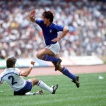 1986 World Cup Finals. Second Phase. Mexico City, Mexico. 17th June, 1986. France 2 v Italy 0. Italy's De Napoli leaps over the challenge of France's Manuel Amoros .