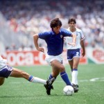 1986 World Cup Finals. Second Phase. Mexico City, Mexico. 17th June, 1986. France 2 v Italy 0. Italy's De Napoli is challenged for the ball by France's Michel Platini .
