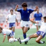 1986 World Cup Finals. Second Phase. Mexico City, Mexico. 17th June, 1986. France 2 v Italy 0. Italy's De Napoli is challenged by French player William Ayache on the ground.