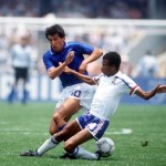 1986 World Cup Finals. Second Phase. Mexico City, Mexico. 17th June, 1986. France 2 v Italy 0. Italy's Salvatore Bagni battles for the ball with France's Jean Tigana.