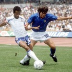 1986 World Cup Finals, Second Round, Mexico City, Mexico, 17th June 1986, France 2 v Italy 0, France's Jean Tigana battles for the ball with Italy's Bruno Conti