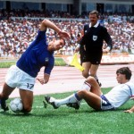 1986 World Cup Finals, Second Phase, Mexico City, Mexico, 17th June, 1986, France 2 v Italy 0, Italy's Gianluca Vialli falls on the ball as France's Manuel Amoros challenges