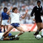 1986 World Cup Finals, Second Phase, Mexico City, Mexico, 17th June, 1986, France 2 v Italy 0, France's Luis Fernandez is brought down by Italy's Giuseppe Galderisi under the eye of the referee