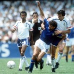 1986 World Cup Finals, Second Phase, Mexico City, Mexico, 17th June, 1986, France 2 v Italy 0, Italy's Alessandro Altobelli is fouled by France's Maxime Bossis as they tussle for the ball