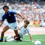 1986 World Cup Finals, Second Phase, Mexico City, Mexico, 17th June, 1986, France 2 v Italy 0, Italy's Salvatore Bagni leaves France's Thierry Tusseau grounded after winning the ball