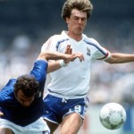 1986 World Cup Finals, Second Phase, Mexico City, Mexico, 17th June, 1986, France 2 v Italy 0, Italy's Pietro Vierchowod challenges France's Yannick Stopyra for the ball