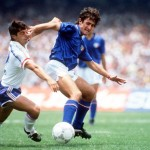 1986 World Cup Finals, Second Phase, Mexico City, Mexico, 17th June, 1986, France 2 v Italy 0, Italy's De Napoli holds off a challenge from France's Alain Giresse in a battle for the ball