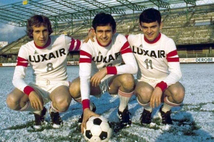 Michel Platini ai tempi del Nancy assieme ai compagni Paco Rubio e Olivier Rouyer