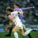 Geils of I.FC Cologne and Butragueno of Real Madrid in action during the UEFA Cup Final Second Leg