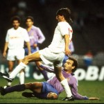 Pisanti of Cologne is challanged by Gallego of Real Madrid during the UEFA Cup Final Second Leg