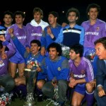 Real Madrid celebrate with the trophy after winning the UEFA Cup Final Second Leg match