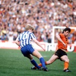 Football. UEFA Cup Final, Second Leg. Tannadice Park, Scotland. 20th May 1987. Dundee United 1 v IFK Gothenburg 1 (Gothenburg win 2-1 on aggregate). Gothenburg's Stefan Pettersson is tackled by Dundee United captain David Narey.