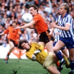 Football. UEFA Cup Final, Second Leg. Tannadice Park, Scotland. 20th May 1987. Dundee United 1 v IFK Gothenburg 1 (Gothenburg win 2-1 on aggregate). Dundee United's Billy Kirkwood is denied by a combination of Gothenburg goalkeeper Thomas Wernersson and d