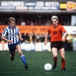 Football. UEFA Cup Final, Second Leg. Tannadice Park, Scotland. 20th May 1987. Dundee United 1 v IFK Gothenburg 1 (Gothenburg win 2-1 on aggregate). Dundee United's Jim McInally moves away from Gothenburg's Lennart Nilsson.