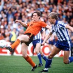 Football. UEFA Cup Final, Second Leg. Tannadice Park, Scotland. 20th May 1987. Dundee United 1 v IFK Gothenburg 1 (Gothenburg win 2-1 on aggregate). Dundee United's Billy Kirkwood is watched by Gothenburg's Mats-Ola Carlsson.
