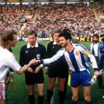 Football. UEFA Cup Final, Second Leg. Germany. 18th May 1988. Bayer Leverkusen 3 v Espanol 0 (after extra time, 3-3 on aggregate, Bayer win 3-2 on penalties). Bayer Leverkusen captain Wolfgang Rolff (left) shakes hands with his Espanol counterpart Alonso