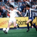 Football. UEFA Cup Final, Second Leg. Germany. 18th May 1988. Bayer Leverkusen 3 v Espanol 0 (after extra time, 3-3 on aggregate, Bayer win 3-2 on penalties). Bayer Leverkusen's Erich Seckler is chased by Espanol's Losada.