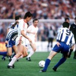 Football. UEFA Cup Final, Second Leg. Germany. 18th May 1988. Bayer Leverkusen 3 v Espanol 0 (after extra time, 3-3 on aggregate, Bayer win 3-2 on penalties). Bayer Leverkusen's Erich Seckler attempts to move forward past Espanol captain Alonso (9).