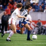 Football. UEFA Cup Final, Second Leg. Germany. 18th May 1988. Bayer Leverkusen 3 v Espanol 0 (after extra time, 3-3 on aggregate, Bayer win 3-2 on penalties). Espanol's Soler is pursued by Bayer Leverkusen captain Wolfgang Rolff.