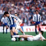 Football. UEFA Cup Final, Second Leg. Germany. 18th May 1988. Bayer Leverkusen 3 v Espanol 0 (after extra time, 3-3 on aggregate, Bayer win 3-2 on penalties). Espanol's Losada is challenged by Bayer Leverkusen's Erich Seckler.