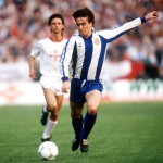 Football. UEFA Cup Final, Second Leg. Germany. 18th May 1988. Bayer Leverkusen 3 v Espanol 0 (after extra time, 3-3 on aggregate, Bayer win 3-2 on penalties). Espanol's Losada.
