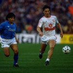 Diego Maradona of Napoli marks Sigurvinnson of Stuttgart during the UEFA Cup