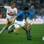 Jurgen Klinsmann of Stuttgart chases Francini of Napoli during the UEFA Cup Final