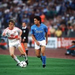 Football. UEFA Cup Final, Second Leg. Naples, Italy. 17th May 1989. Napoli 2 v VfB Stuttgart 1 (Napoli win 5-4 on aggregate). Napoli's Careca is watched by Stuttgart's Gunther Schafer.