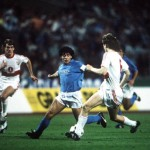 Football. UEFA Cup Final, Second Leg. Naples, Italy. 17th May 1989. Napoli 2 v VfB Stuttgart 1 (Napoli win 5-4 on aggregate). Napoli's Diego Maradona on the attack.