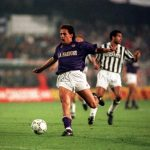 Sport. Football. UEFA Cup Final, Second Leg. Florence. 16th May 1990. Fiorentina 0 v Juventus 0 (Juventus win 3-1 on aggregate). Fiorentina's Roberto Baggio.
