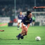 Football. UEFA Cup Final, Second Leg. Florence, Italy. 16th May 1990. Fiorentina 0 v Juventus 0 (Juventus win 3-1 on aggregate). Fiorentina's Carlos Dunga holds his leg in pain after a foul challenge.
