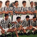 Football. UEFA Cup Final, Second Leg. Florence, Italy. 16th May 1990. Fiorentina 0 v Juventus 0 (Juventus win 3-1 on aggregate). The Juventus team pose together for a group photograph. Back Row L-R: Marocchi, Sergei Aleinikov, Nicolo Napoli, Pierluigi Cas