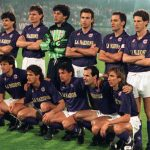 Football. UEFA Cup Final, Second Leg. Florence, Italy. 16th May 1990. Fiorentina 0 v Juventus 0 (Juventus win 3-1 on aggregate). The Fiorentina team pose together for a group photograph. Back Row L-R: Antonio Dell'Oglio, Lubos Kubik, Marco Landucci, Celes
