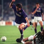 Football. UEFA Cup Final, Second Leg. Florence, Italy. 16th May 1990. Fiorentina 0 v Juventus 0 (Juventus win 3-1 on aggregate). Fiorentina's Alberto Di Chiara is fouled by Sergei Aleinikov of Juventus.