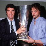 Football. UEFA Cup Final, Second Leg. Florence, Italy. 16th May 1990. Fiorentina 0 v Juventus 0 (Juventus win 3-1 on aggregate). Juventus coach Dino Zoff and goalkeeper Stefano Tacconi celebrate with the trophy in the dressing room.