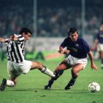 Football. UEFA Cup Final, Second Leg. Florence, Italy. 16th May 1990. Fiorentina 0 v Juventus 0 (Juventus win 3-1 on aggregate). Fiorentina's Carlos Dunga is challenged by Angelo Alessio of Fiorentina.