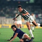 Football. UEFA Cup Final, Second Leg. Florence, Italy. 16th May 1990. Fiorentina 0 v Juventus 0 (Juventus win 3-1 on aggregate). Fiorentina's Carlos Dunga slides to tackle Pierluigi Casiraghi of Juventus.