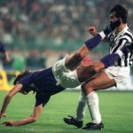Football. UEFA Cup Final, Second Leg. Florence, Italy. 16th May 1990. Fiorentina 0 v Juventus 0 (Juventus win 3-1 on aggregate). Fiorentina's Celestic Pin falls under challenge from Pierluigi Casiraghi of Juventus.
