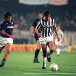Football. UEFA Cup Final, Second Leg. Florence, Italy. 16th May 1990. Fiorentina 0 v Juventus 0 (Juventus win 3-1 on aggregate). Pierluigi Casiraghi of Juventus is about to be challenged by Fiorentina's Carlos Dunga.